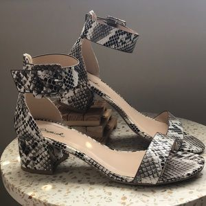 Qupid snake skin heeled sandal